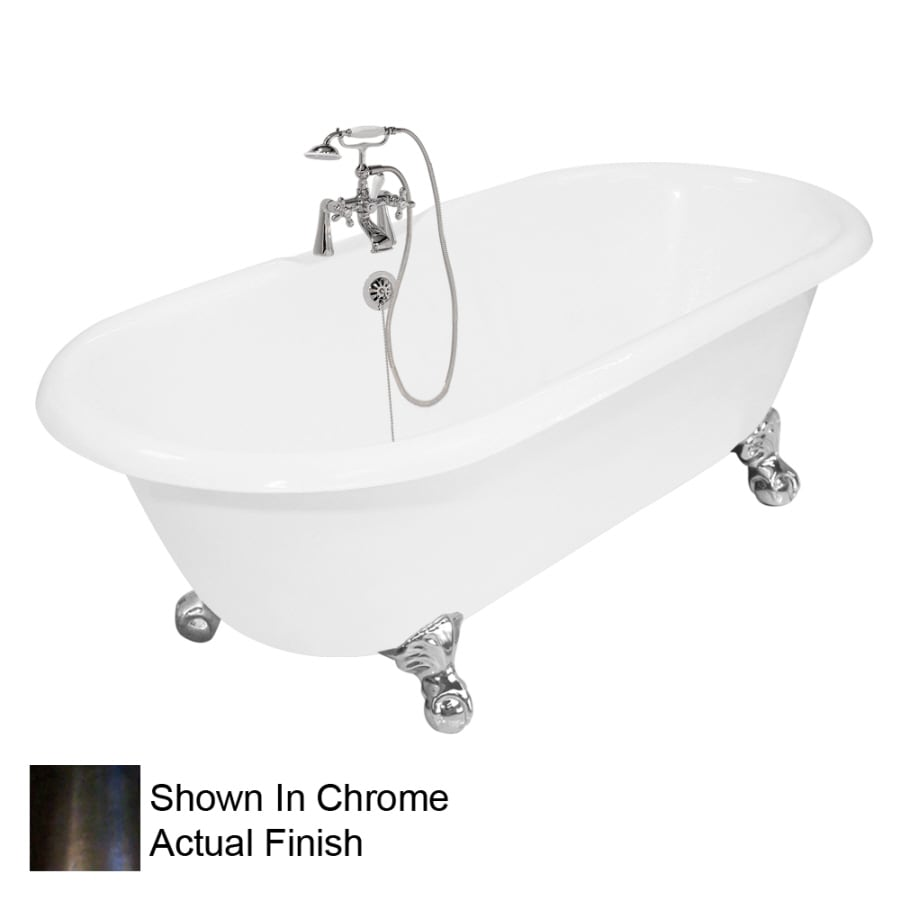 American Bath Factory Winston 67-in White Cast Iron Clawfoot Bathtub with Back Center Drain