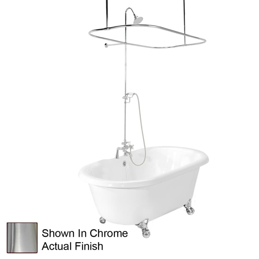 American Bath Factory 70-in White Acrylic Clawfoot Bathtub with Center Drain