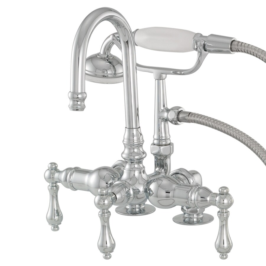 American Bath Factory F200 series Chrome 3-handle Fixed Deck Mount Commercial Bathtub Faucet