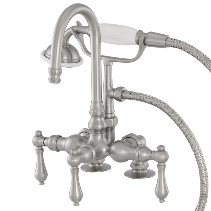 American Bath Factory F200 Series Satin Nickel 3-Handle Bathtub and Shower Faucet Trim Kit with Handheld Showerhead