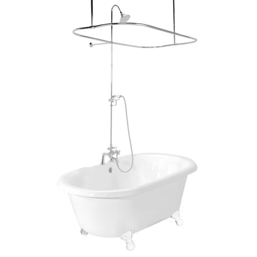 American Bath Factory 70-in White Acrylic Clawfoot Bathtub with Back Center Drain
