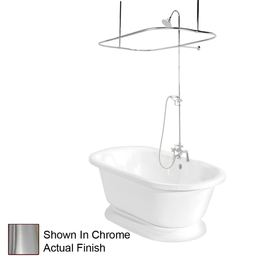 American Bath Factory Beacon Hill Acrylic Round Pedestal Bathtub with Center Drain (Common: 32-in x 70-in; Actual: 23.5-in x 32-in x 70-in)