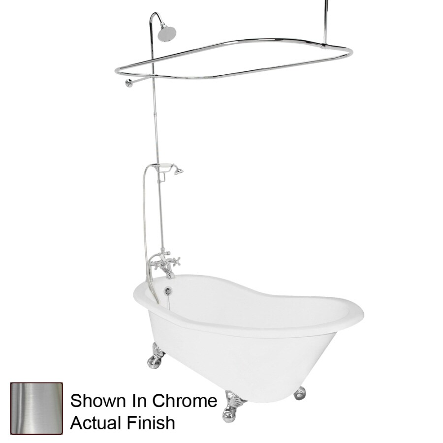 American Bath Factory Wintess 61.5-in White Cast Iron Clawfoot Bathtub with Reversible Drain
