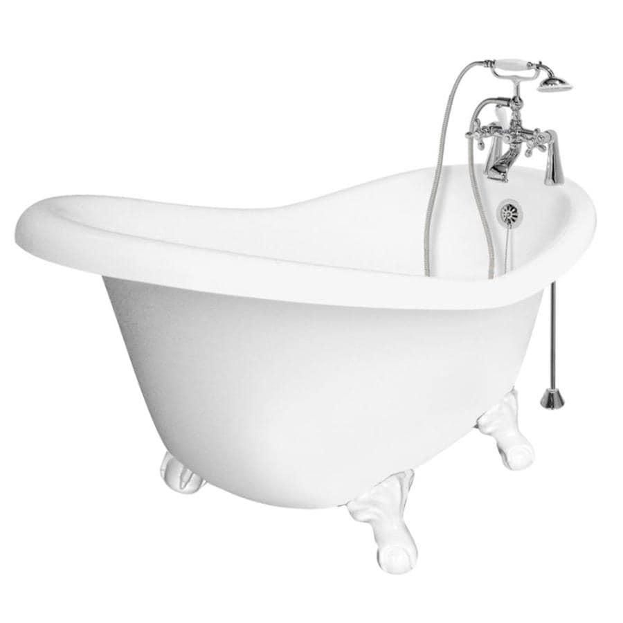 American Bath Factory Marilyn 67-in White Acrylic Clawfoot Bathtub with Reversible Drain