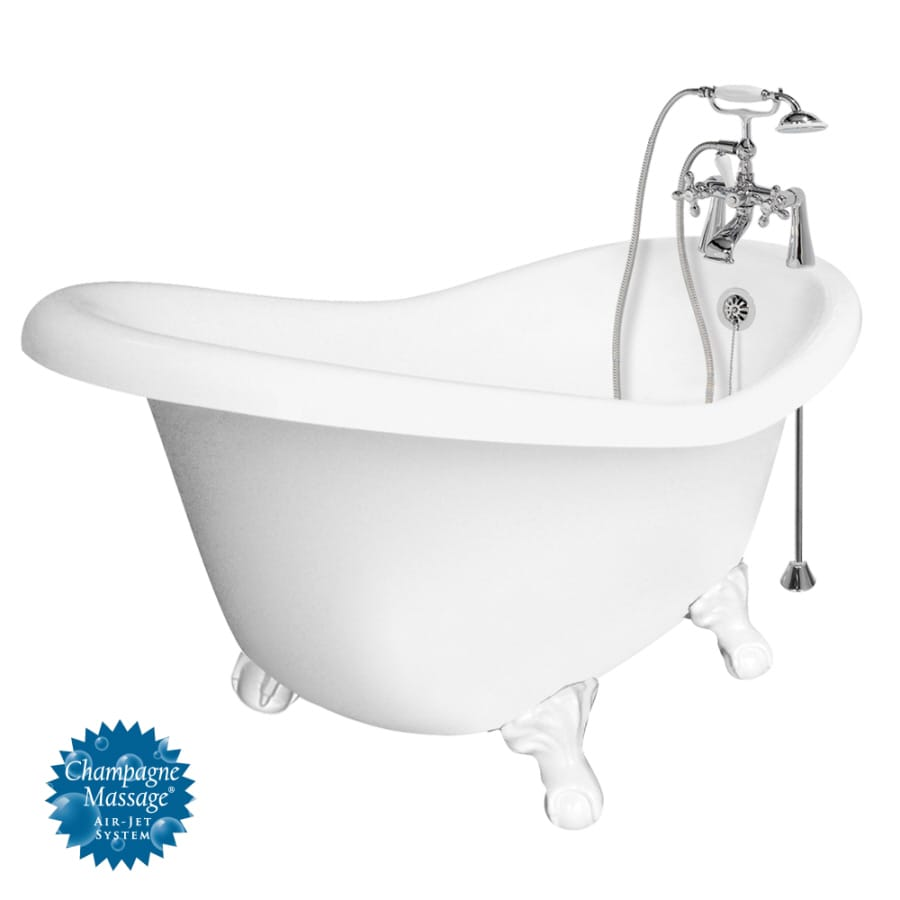 American Bath Factory Marilyn 67-in L x 32-in W x 30-in H White Acrylic Round Clawfoot Air Bath