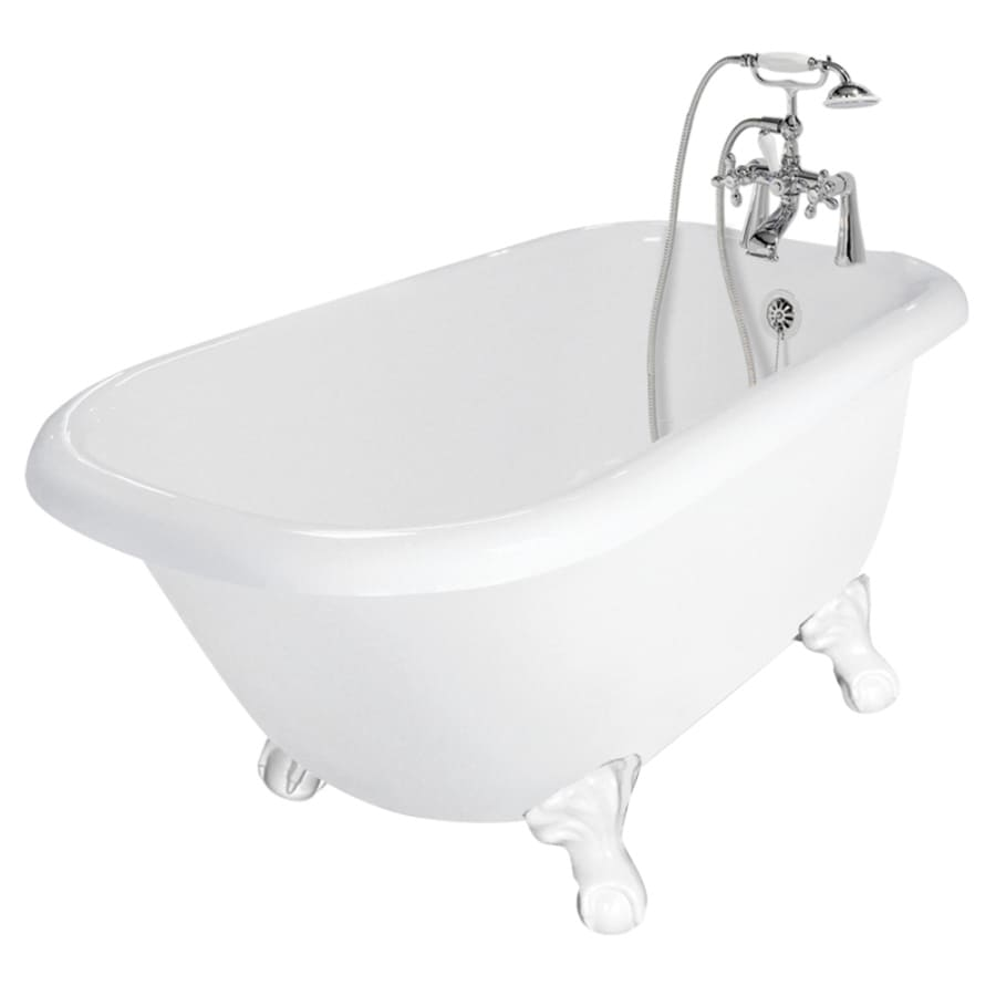American Bath Factory Trinity 60-in White Acrylic Clawfoot Bathtub with Reversible Drain