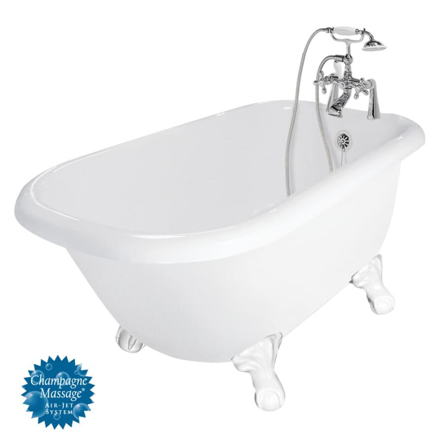 American Bath Factory Trinity 60-in White Acrylic Clawfoot Air Bath with Reversible Drain