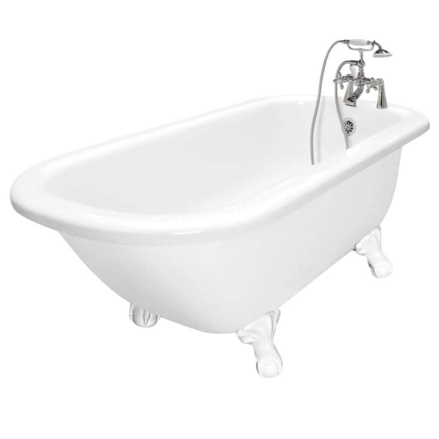 American Bath Factory 67-in White Acrylic Clawfoot Bathtub with Reversible Drain