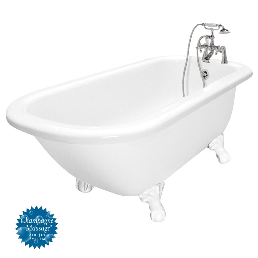 American Bath Factory 67-in White Acrylic Clawfoot Air Bath with Right-Hand Drain