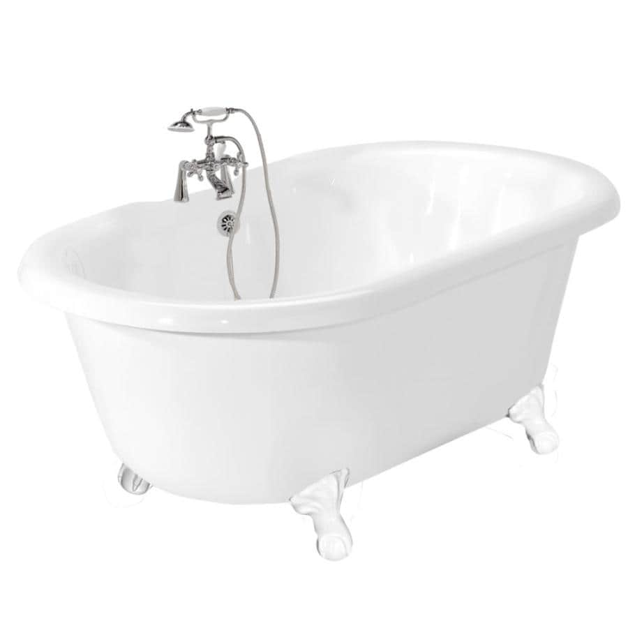 American Bath Factory 70-in White Acrylic Clawfoot Bathtub with Back Center Drain