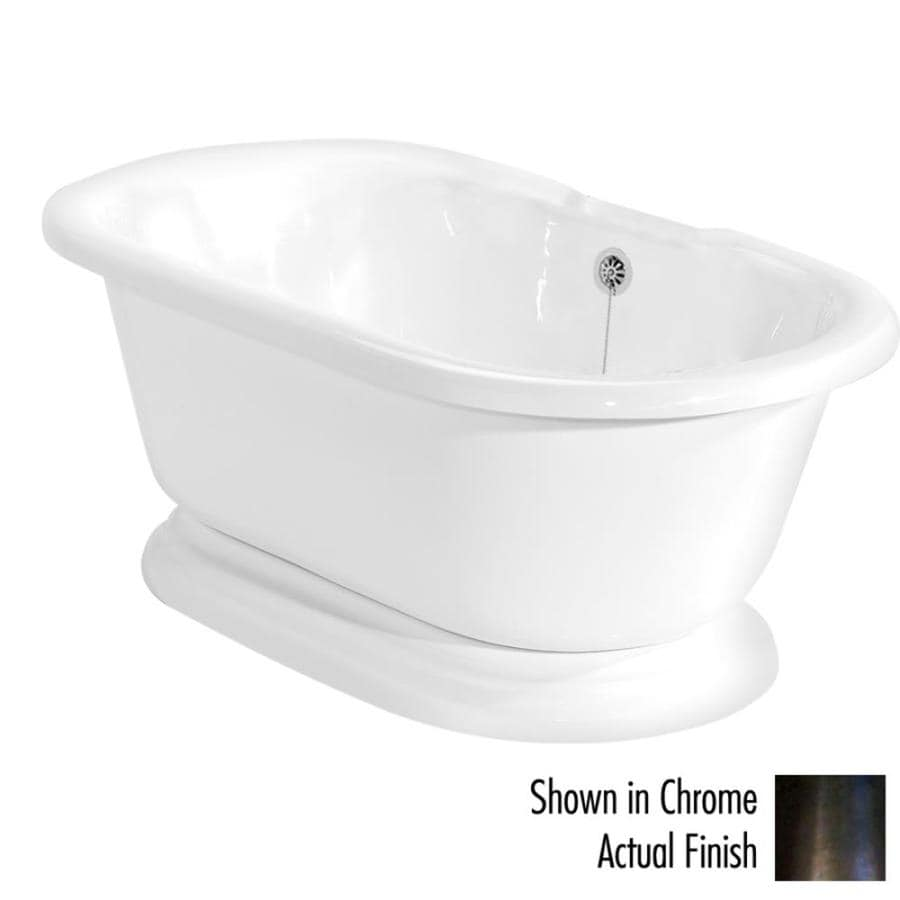 American Bath Factory Nobb Hill 60-in White Acrylic Pedestal Bathtub with Center Drain