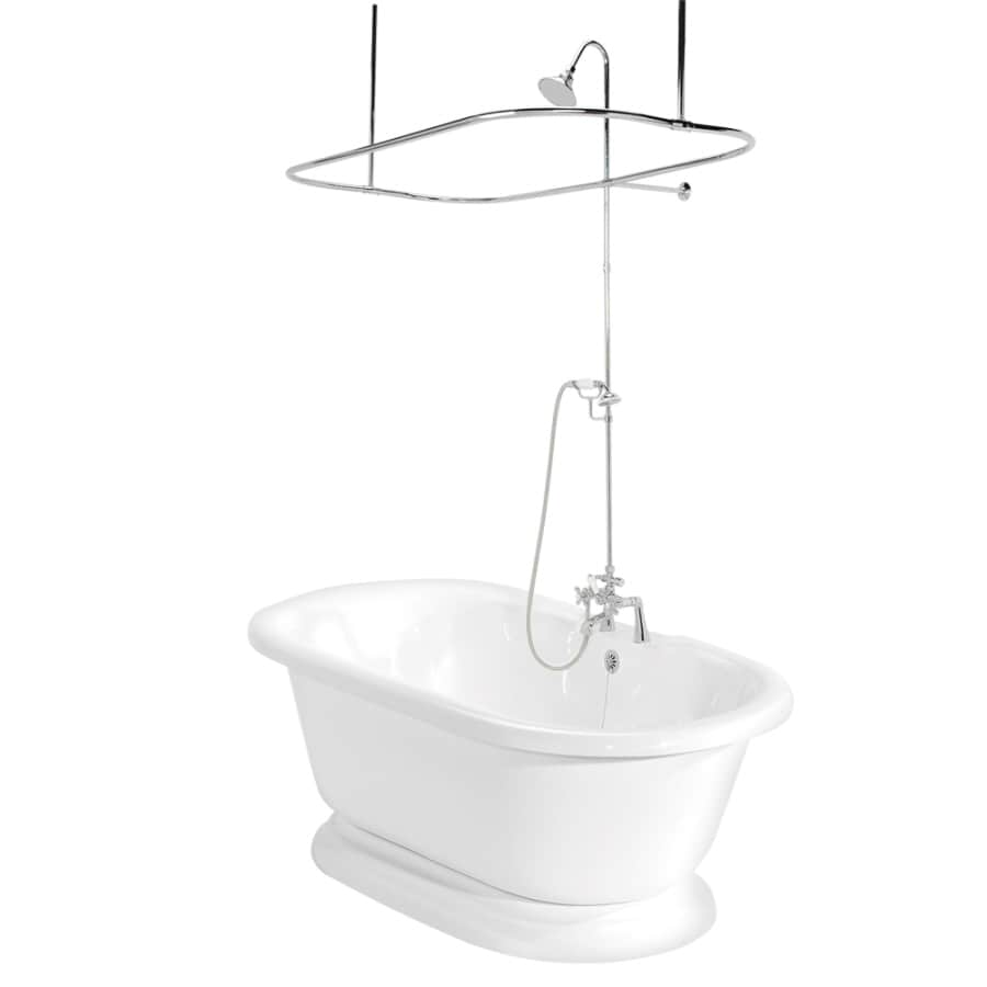 American Bath Factory Nobb Hill Acrylic Round Pedestal Bathtub with Center Drain (Common: 32-in x 60-in; Actual: 23.5-in x 32-in x 60-in)