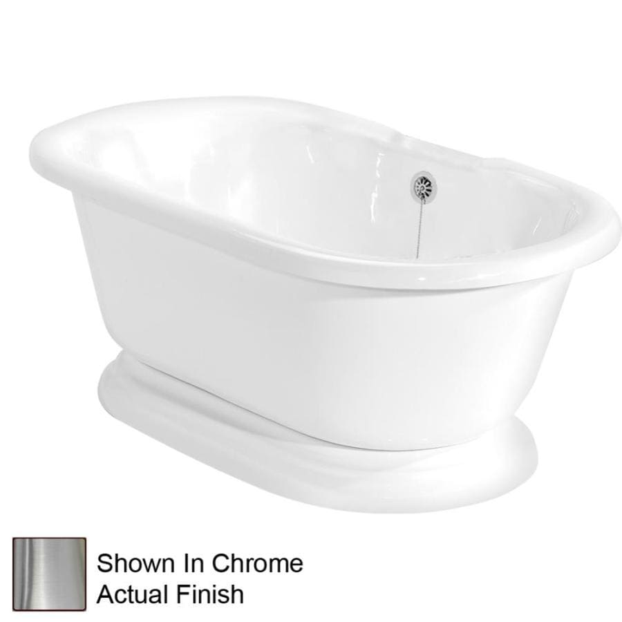 American Bath Factory Beacon Hill 70-in White Acrylic Pedestal Bathtub with Back Center Drain