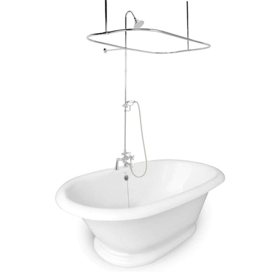 American Bath Factory Heritage Acrylic Round Pedestal Bathtub with Center Drain (Common: 42-in x 72-in; Actual: 26.5-in x 42-in x 72-in)