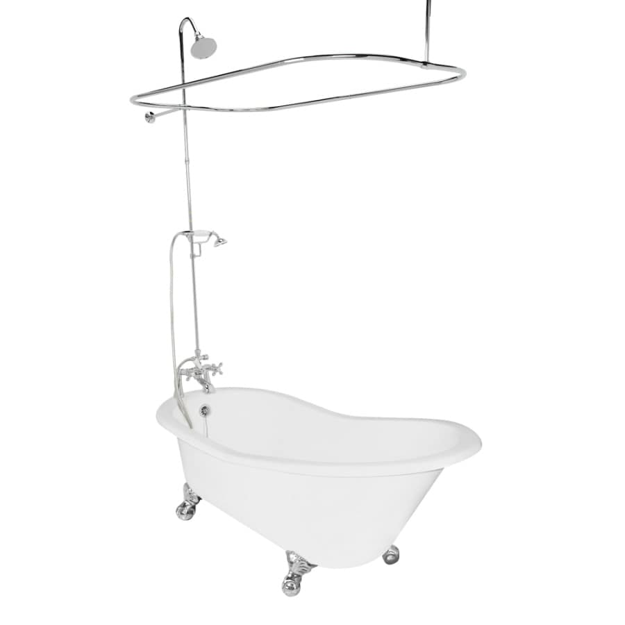 American Bath Factory Wintess Cast Iron Round Clawfoot Bathtub with Reversible Drain (Common: 31-in x 61.5-in; Actual: 31-in x 31-in x 61.5-in)