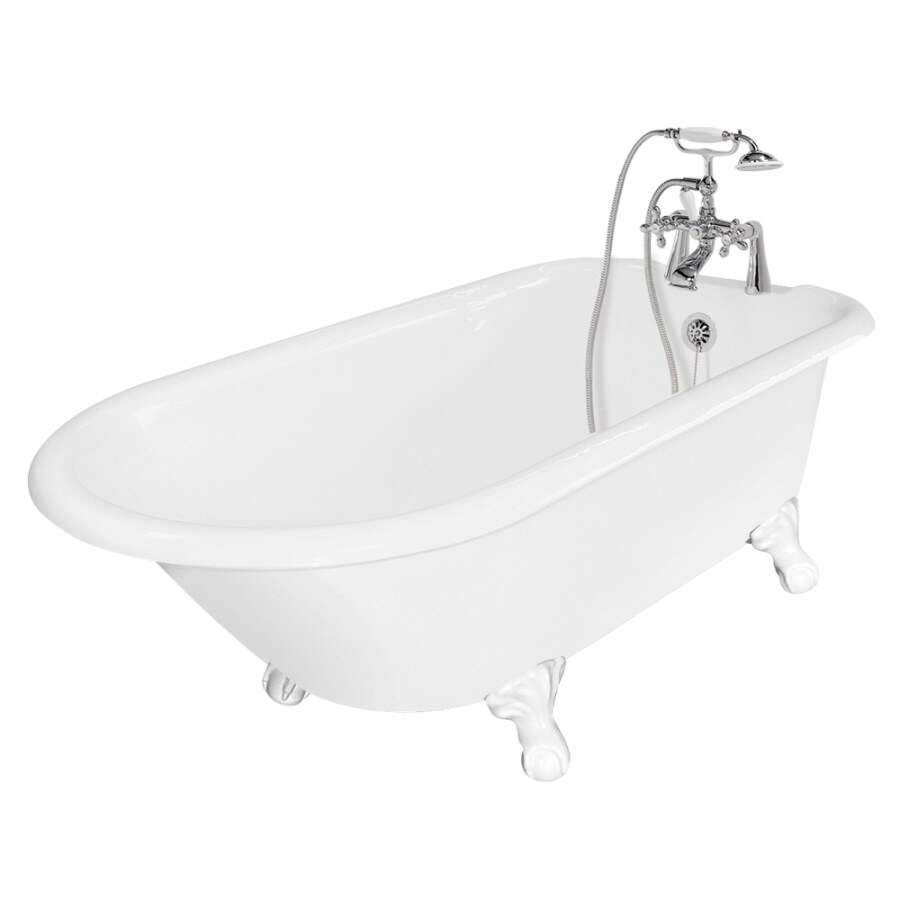 Shop American Bath Factory Windsor 61 In White Cast Iron Clawfoot Bathtub Wit