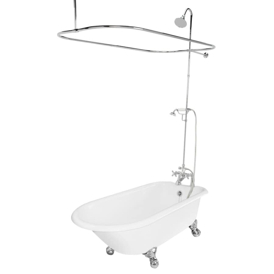 American Bath Factory Windsor 61-in White Cast Iron Clawfoot Bathtub with Reversible Drain