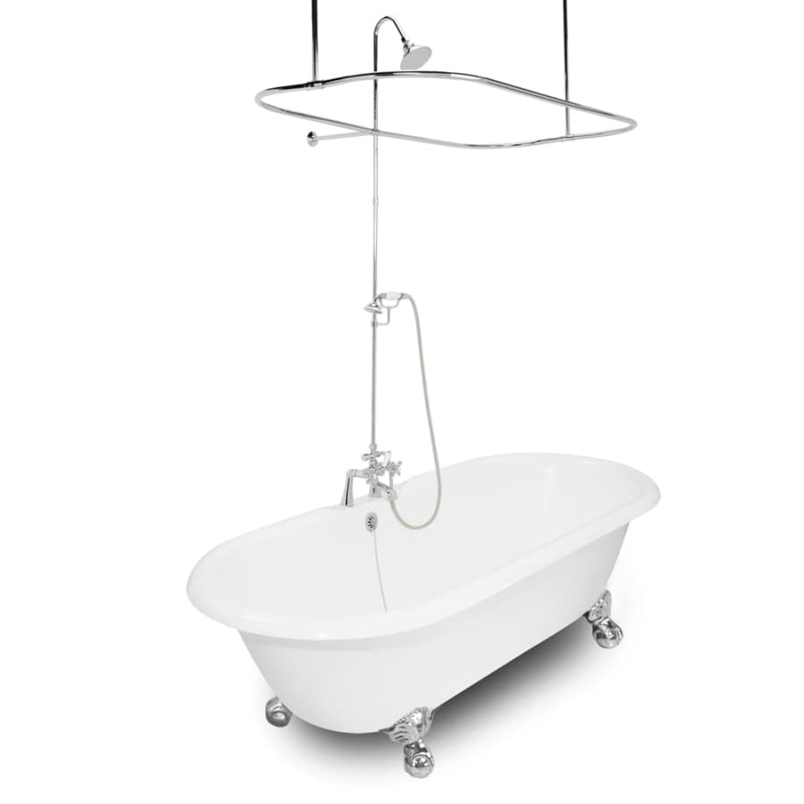 American Bath Factory Winston 67-in White Cast Iron Clawfoot Bathtub with Reversible Drain