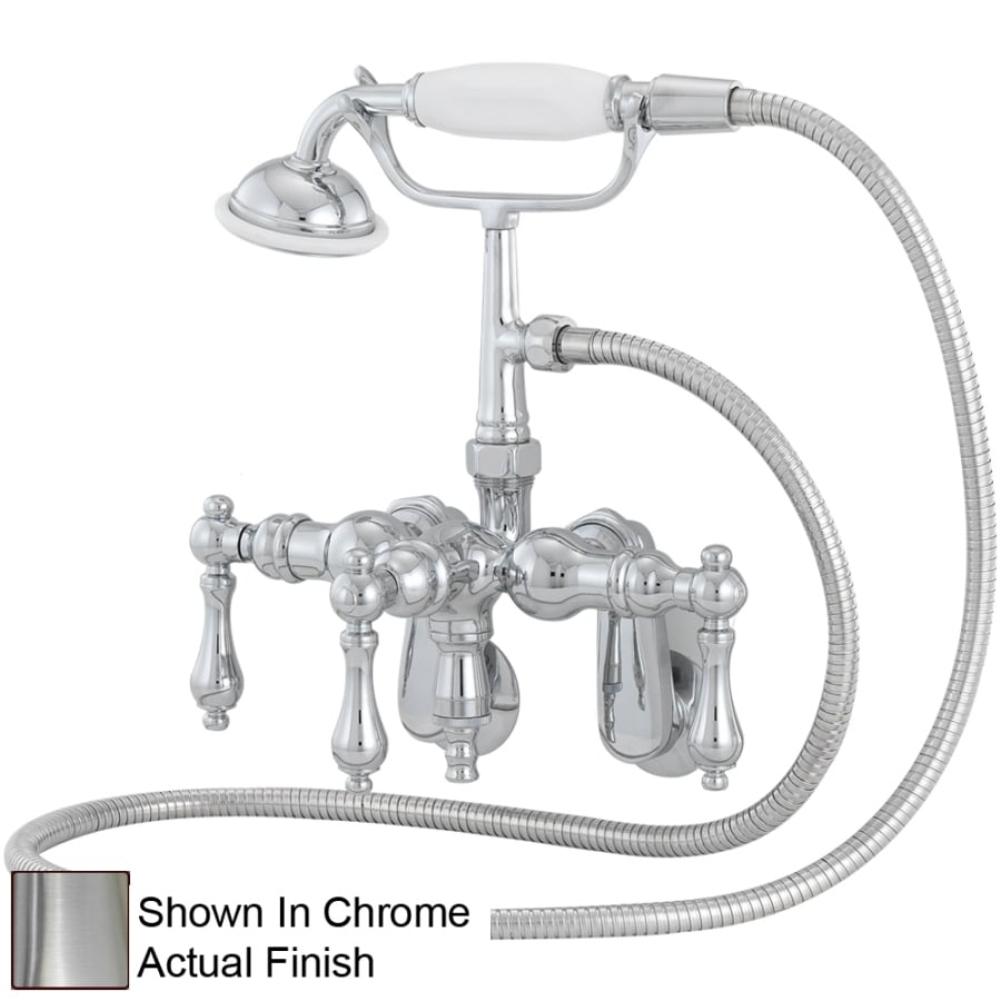 American Bath Factory F400 Series Satin Nickel 3-Handle Bathtub and Shower Faucet Trim Kit with Handheld Showerhead