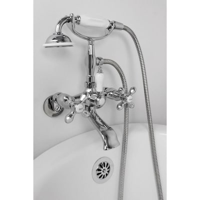 Wall Mount Shower Hand Shower Faucet.F90 Series Chrome 2 Handle Commercial Residential Wall Mount Bathtub Faucet With Hand Shower
