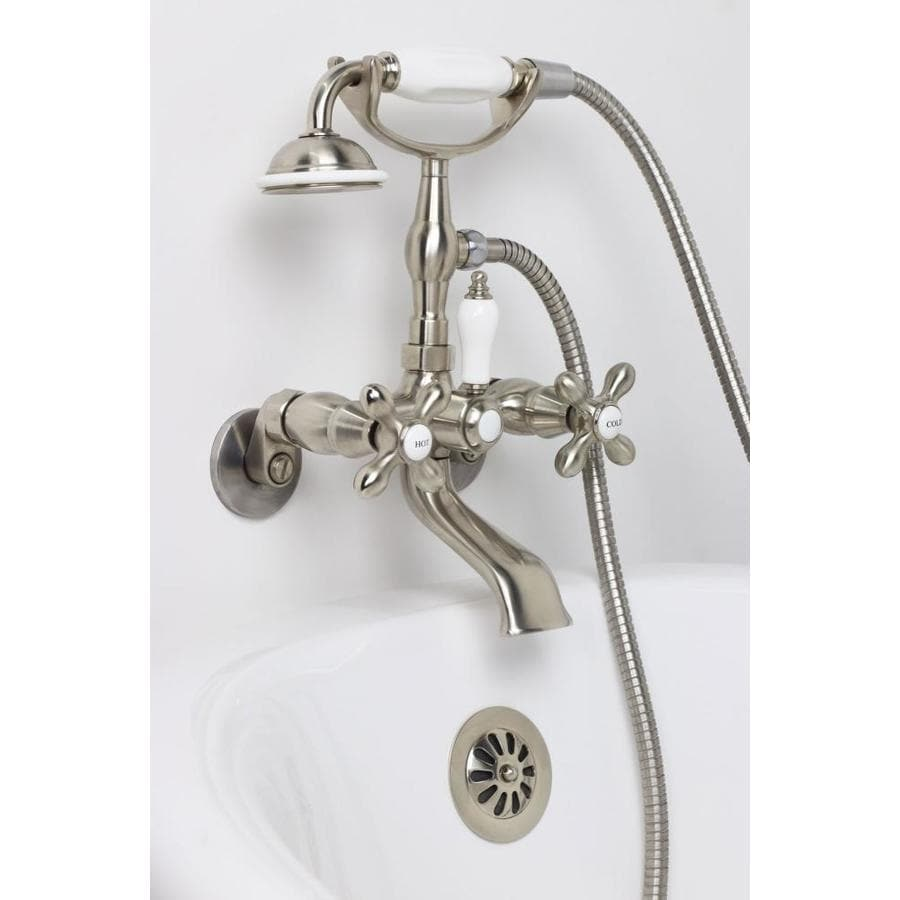American Bath Factory F90 Series Satin Nickel 2-Handle Adjustable Wall Mount Bathtub Faucet