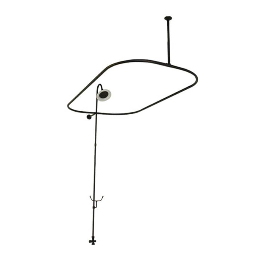American Bath Factory Bathtub End Shower Enclosure 58.75-in Old World Bronze Enclosure Fixed Shower Rod