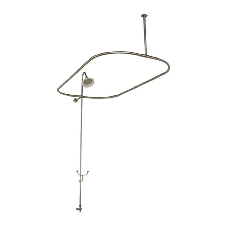 American Bath Factory Bathtub End Shower Enclosure 58.75-in Satin Nickel Enclosure Fixed Shower Rod