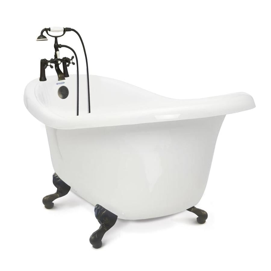 American Bath Factory Chelsea 60 In White Acrylic Clawfoot Bathtub With  Reversible Drain