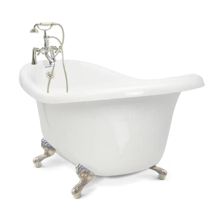 Shop american bath factory chelsea 60 in white acrylic for Bathroom with clawfoot tub