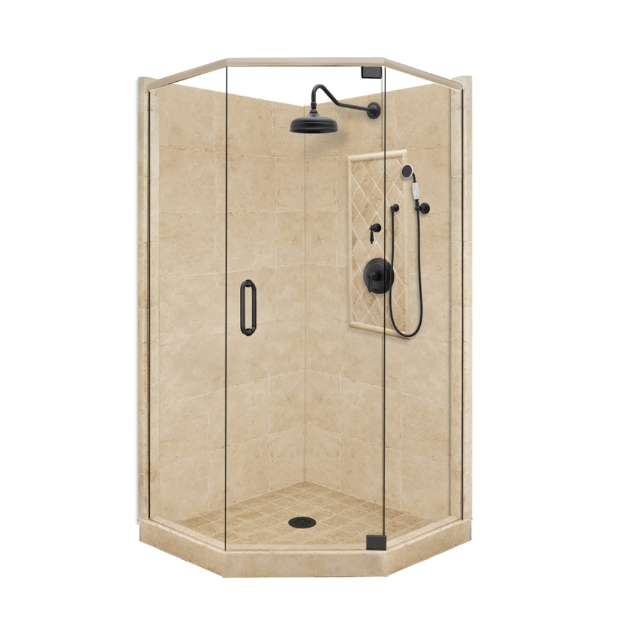 shop american bath factory panel medium fiberglass and plastic neo angle corner shower kit. Black Bedroom Furniture Sets. Home Design Ideas
