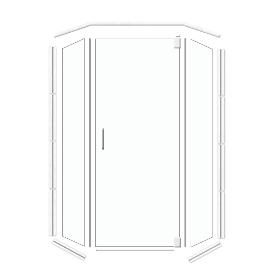 American Bath Factory 32-in W x 70-in H Polished Chrome Frameless Neo-Angle Shower Door
