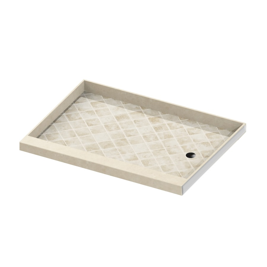 American Bath Factory Flagstaff Molded Stone Shower Base (Common: 34-in W x 60-in L; Actual: 34-in W x 60-in L) with Right Drain
