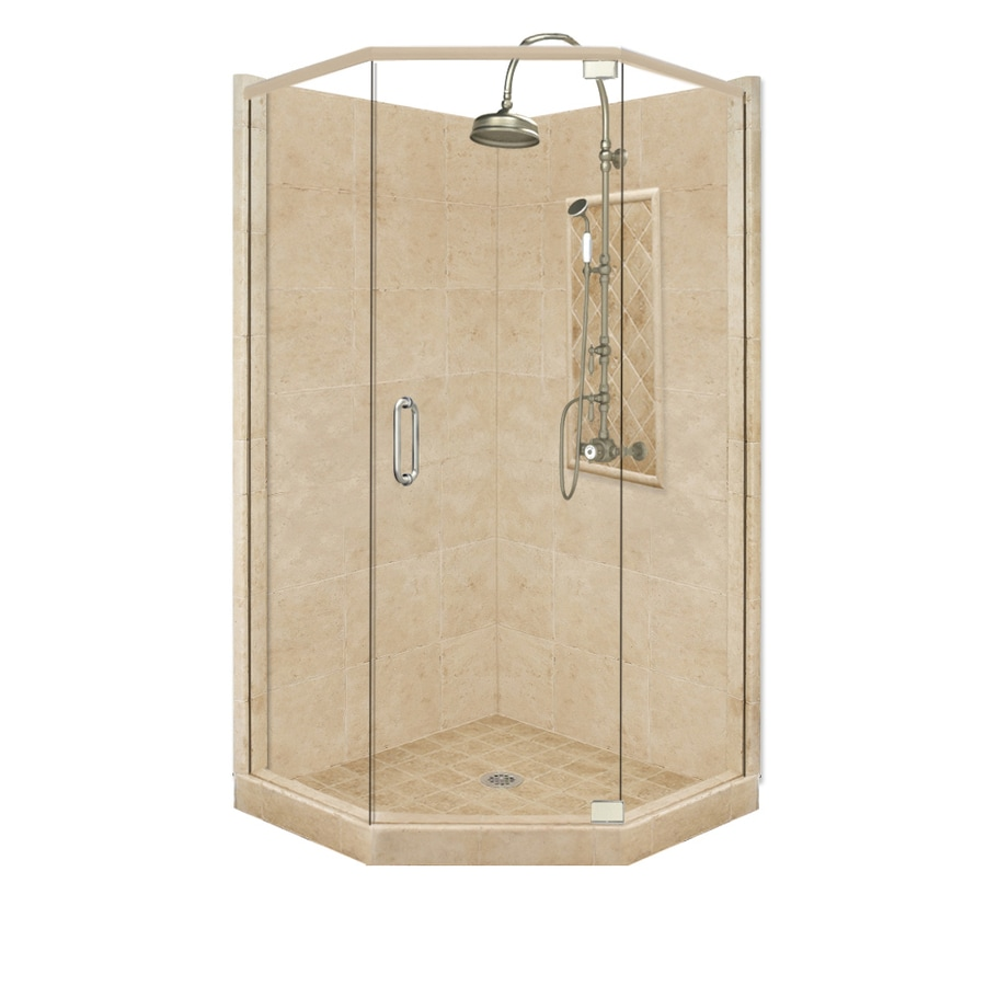 American Bath Factory Panel Medium Fiberglass and Plastic Neo Angle Corner  Shower Kit  ActualShop American Bath Factory Panel Medium Fiberglass and Plastic Neo  . Lowes Corner Shower Kit. Home Design Ideas