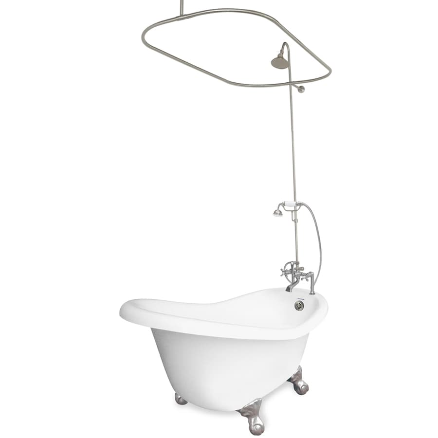 Shop American Bath Factory Ascot 60 In White Acrylic Clawfoot Bathtub With Re