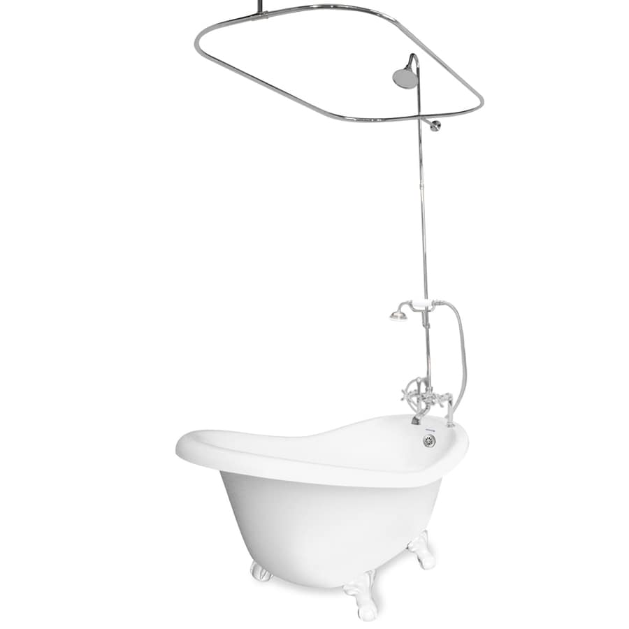 American Bath Factory Ascot Acrylic Oval Clawfoot Bathtub with Reversible Drain (Common: 32.5-in x 60-in; Actual: 30-in x 32.5-in x 60-in)