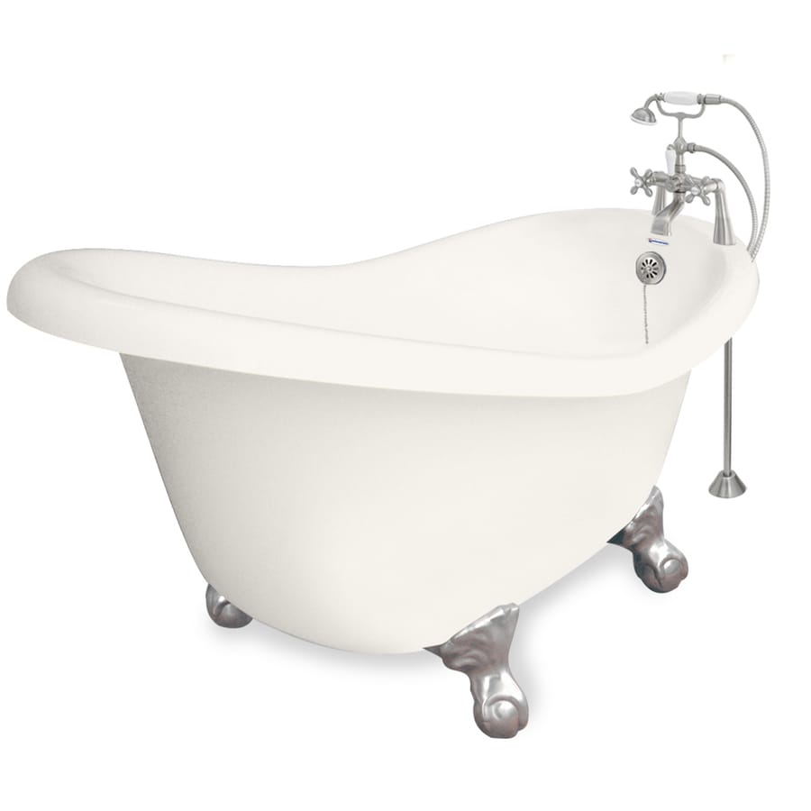 American Bath Factory Ascot Acrylic Oval Clawfoot Bathtub with Reversible Drain (Common: 33-in x 60-in; Actual: 30-in x 32.5-in x 60-in)