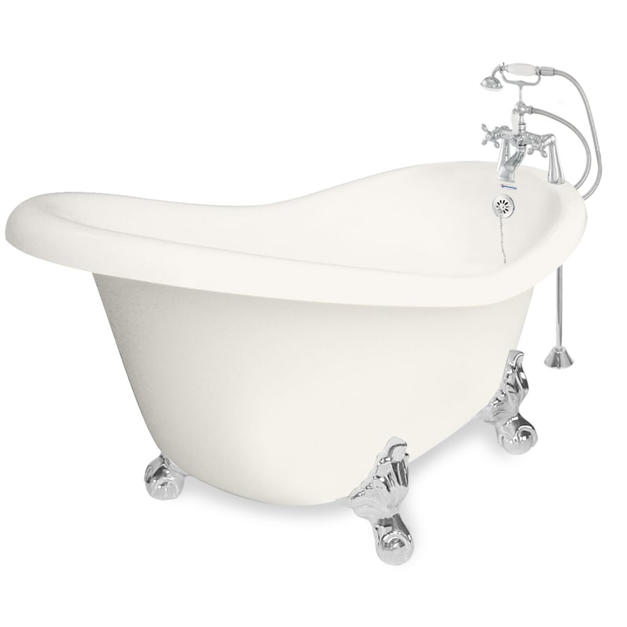 American Bath Factory Ascot 60-in Bisque Acrylic Clawfoot Bathtub with Reversible Drain
