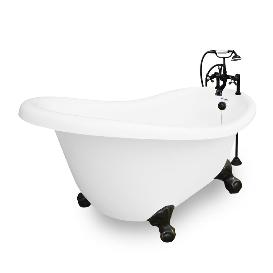 American Bath Factory Marilyn 67-in White Acrylic Clawfoot Bathtub with Reversible Drain