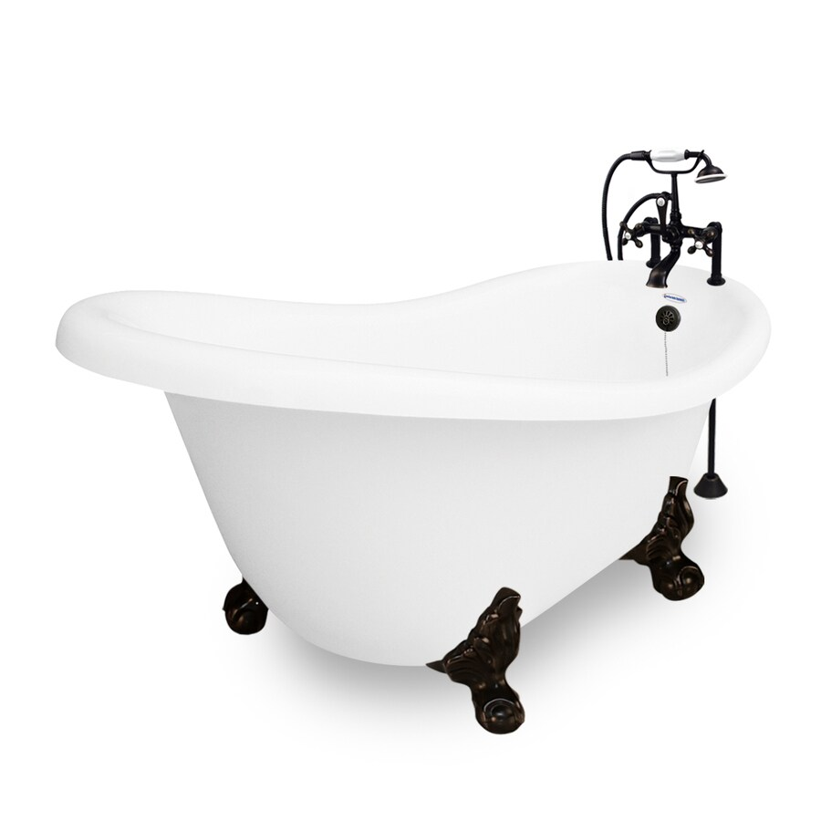 American Bath Factory Marilyn Acrylic Oval Clawfoot Bathtub with Reversible Drain (Common: 32-in x 67-in; Actual: 30-in x 32-in x 67-in)