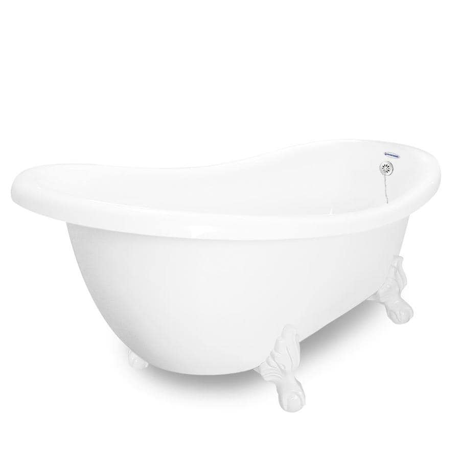American Bath Factory Churchill 71-in White Acrylic Clawfoot Bathtub with Reversible Drain