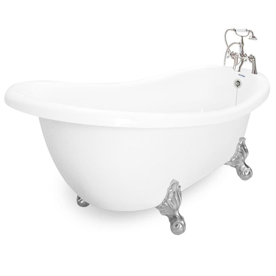 Shop American Bath Factory Acrylic Round Clawfoot Bathtub With Reversible Dra