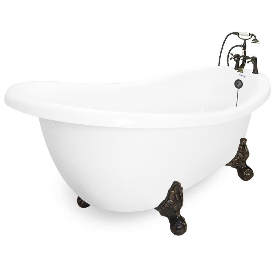 American Bath Factory Acrylic Round Clawfoot Bathtub with Reversible Drain (Common: 60-in x 32-in; Actual: 30-in x 35-in x 71-in)