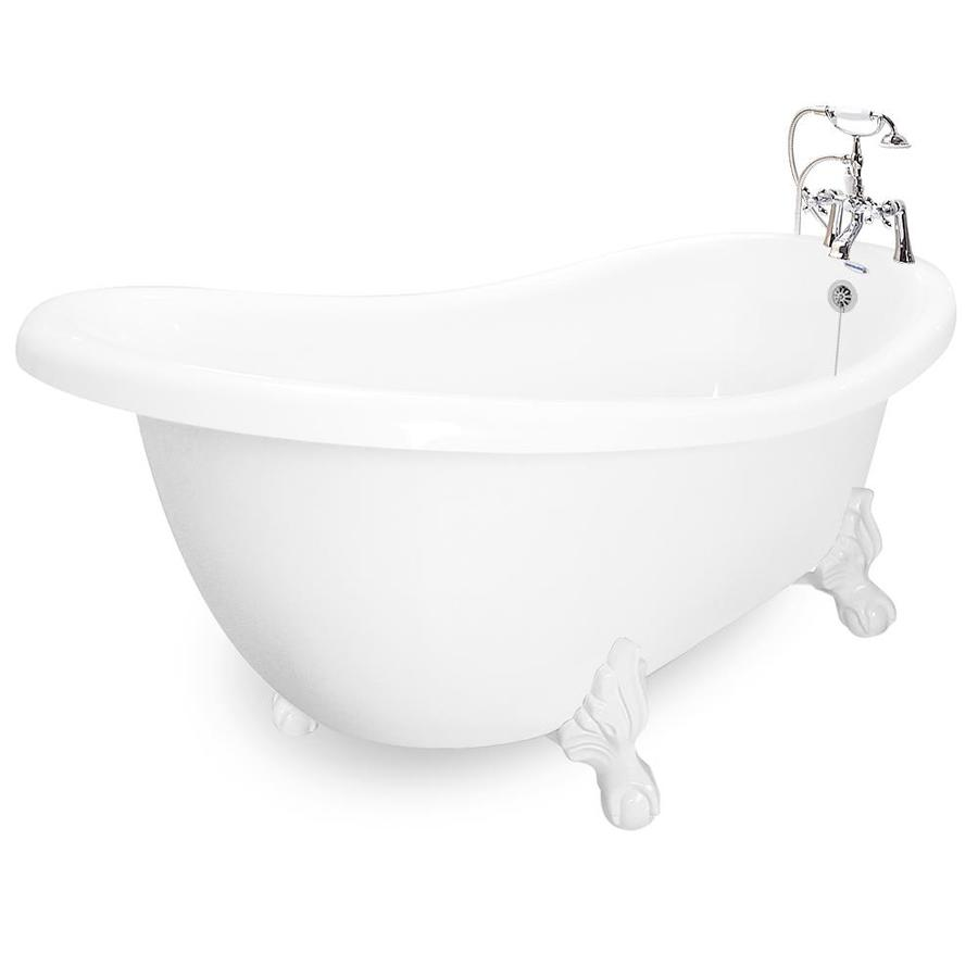 American Bath Factory 71-in White Acrylic Clawfoot Bathtub with Reversible Drain