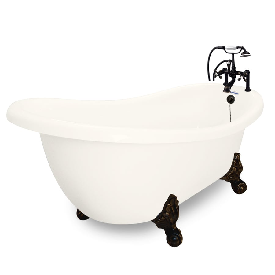 American Bath Factory Churchill 71-in Bisque Acrylic Clawfoot Bathtub with Reversible Drain