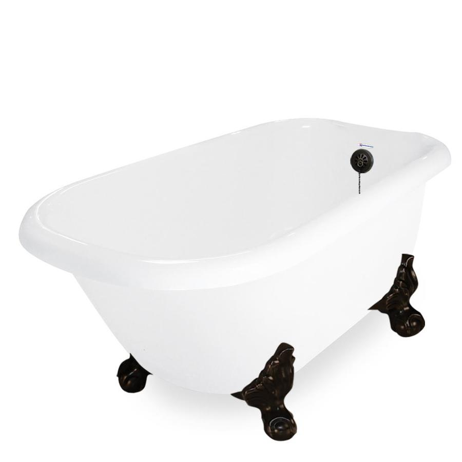 American Bath Factory Jester 54 In White Acrylic Clawfoot Bathtub With  Reversible Drain
