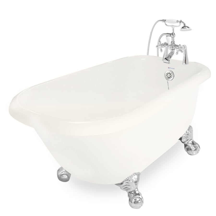 American Bath Factory Jester Acrylic Oval Clawfoot Bathtub with Reversible Drain (Common: 30-in x 54-in; Actual: 24-in x 30-in x 54-in)