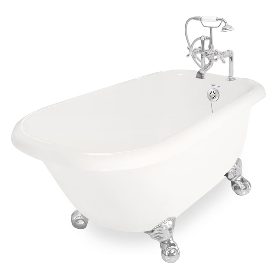 American Bath Factory Jester 54-in Bisque Acrylic Clawfoot Bathtub with Reversible Drain