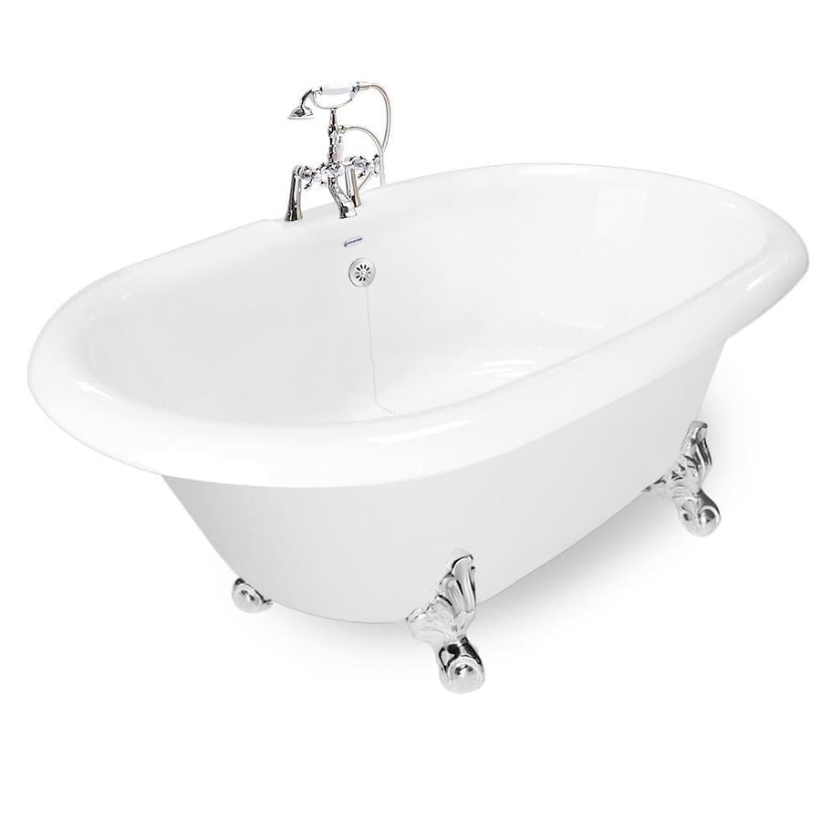 Shop American Bath Factory 72 In White Acrylic Clawfoot Bathtub With Reversib