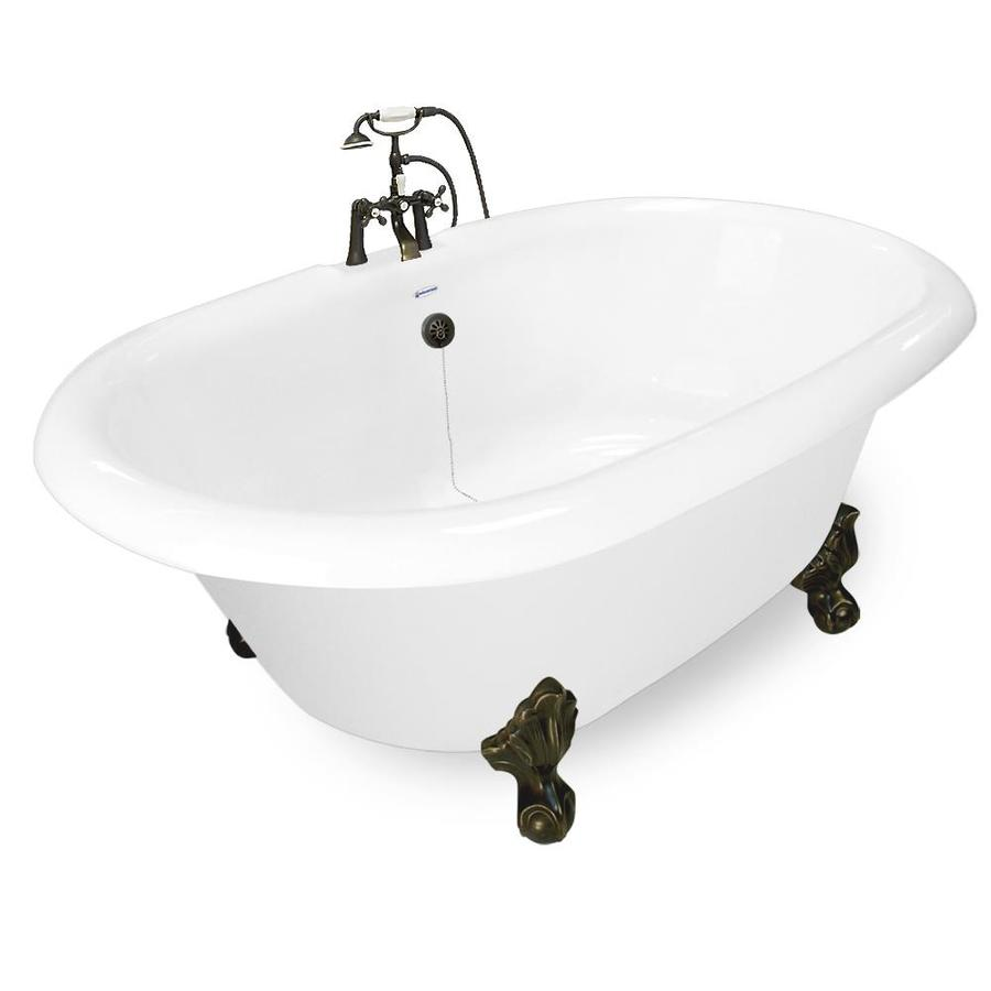 American Bath Factory 72-in White Acrylic Clawfoot Bathtub with Back Center Drain