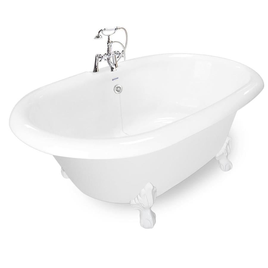 American Bath Factory Acrylic Round Clawfoot Bathtub with Reversible Drain (Common: 60-in x 32-in; Actual: 27-in x 42-in x 72-in)